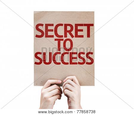 Secret to Success card isolated on white background