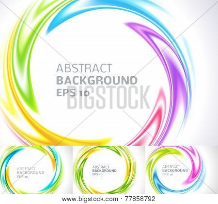 Set of abstract swirl circle bright background. Vector illustration