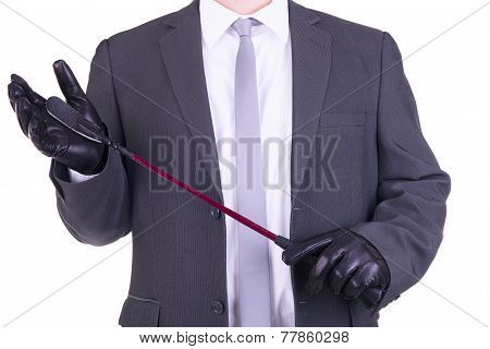 Businessman Holding A Riding Crop.