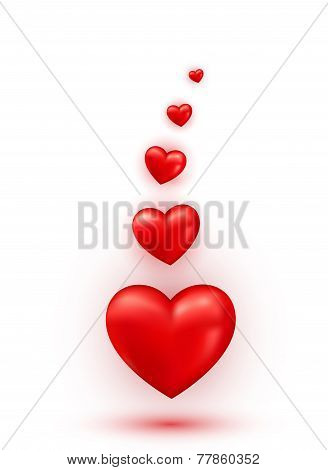 Hearts Valentine abstract glossy background