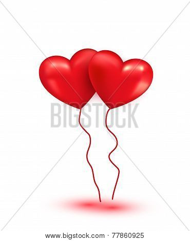 Shiny red heart balloons