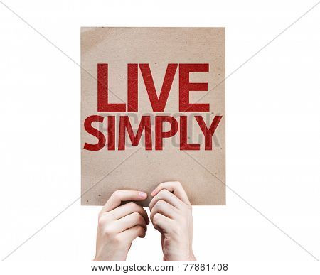Live Simply card isolated on white background