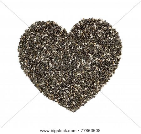 Chia Seeds In Heart Shape Isolated On White