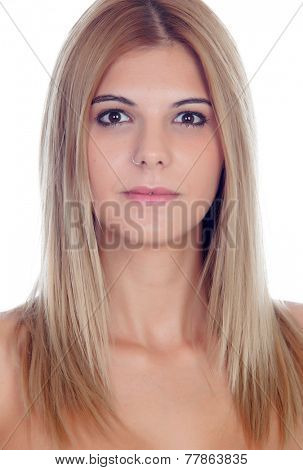 Casual blond girl with piercing on her nose isolated on a white background