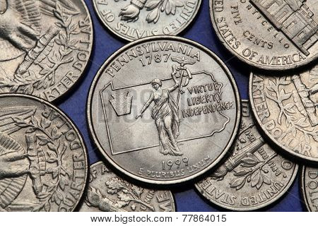 Coins of USA. Commonwealth statue in Harrisburg, Pennsylvania, depicted on the US Pennsylvania quarter (1999).
