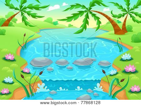 Funny scene in the jungle. Vector cartoon illustration.