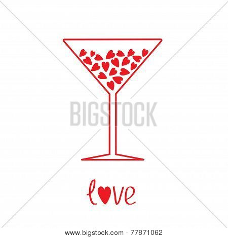 Martini Glass With Hearts Inside. Card