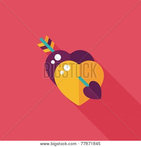 Valentine's Day Heart Bow And Arrow Flat Icon With Long Shadow,eps10