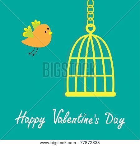 Golden Birdcage Cell. Flat Design Style. Happy Valentines Day Card
