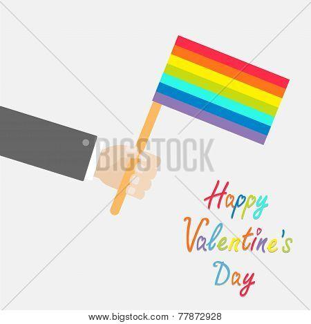 Businessman Hand Holding Rainbow Gay Pride Flag. Flat Design Style Happy Valentines Day Card