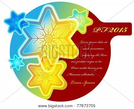 Abstract vector Christmas card with colored flakes, stars and place for text