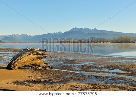 Pitt River And Golden Ears Mountain At Sunrise