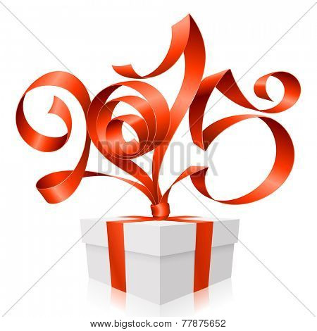 Vector red ribbon in the shape of 2015 and gift box. Symbol of New Year