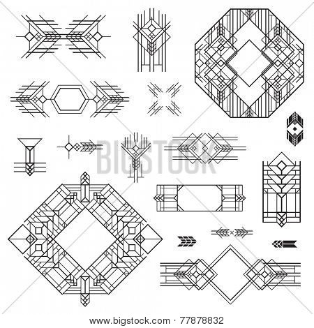 Art Deco Vintage Frames and Design Elements - hand drawn in vector