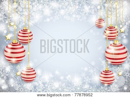 Snowflake Winter Background Red Baubles