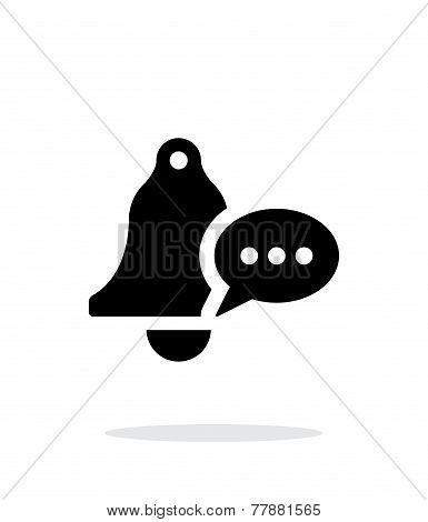 Ringing bell with message simple icon on white background.