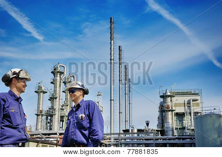 oil and gas, power and energy industry with workers