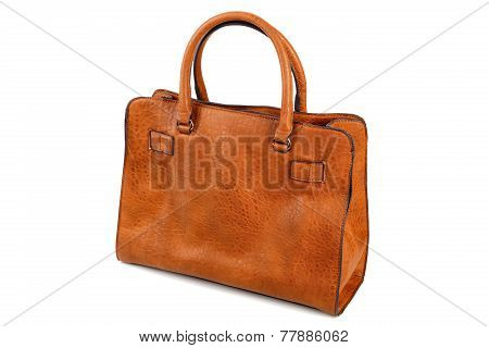 Brown Female Bag Isolated On A White Background