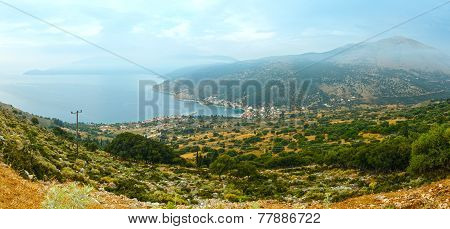 Sunrise Misty Summer Coast Landscape ( Kefalonia, Greece).