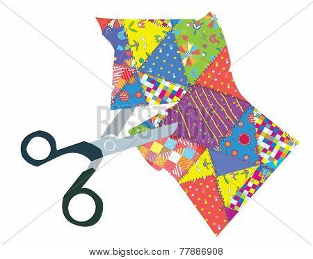 Quilt and scissors funny illustration