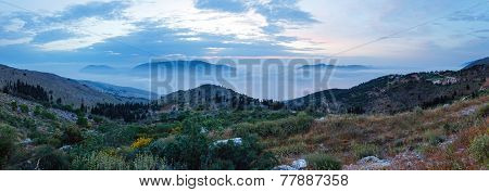 Sunrise Misty Summer Landscape ( Kefalonia, Greece).