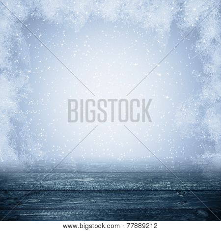 Winter Background Graphics Winter Snow Frost Projectsspace Text Wooden Panel