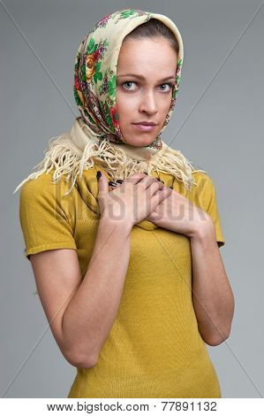 Beautiful Young Woman Wearing A Headscarf