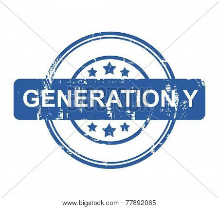 Generation Y stamp with stars isolated on a white background.