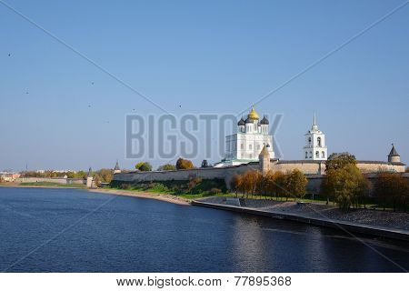 image of a Pskov Kremlin and the Trinity orthodox cathedral, Russia