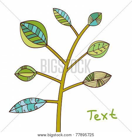 White background with green tree. Modern vector graphic.