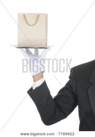Butler With Gift Bag On Tray