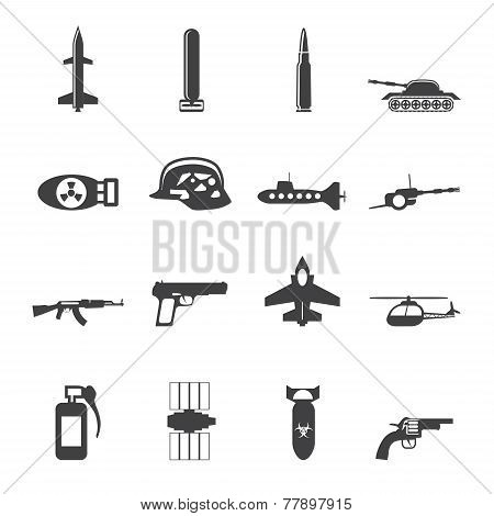 Silhouette Simple weapon, arms and war icons