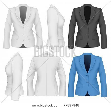 Ladies suit jacket for business women. Vector illustration.