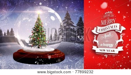 Snow falling against christmas tree in snow globe