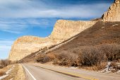 picture of dike  - The towering cliff of the volcanic radial dike called Devil - JPG