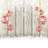 stock photo of x-files  - Snow with baubles on the wooden background - JPG