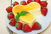 pic of cheesecake  - heart shaped cheesecake with strawberries ideal cake for valentine day - JPG