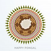 image of rangoli  - Traditional mud pot with rice on floral design decorated rangoli for South Indian harvesting festival - JPG