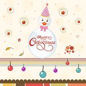stock photo of ball cap  - Cute snowman in cap with wishing text on colorful balls decorated background for Merry Christmas celebrations - JPG