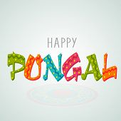 stock photo of pongal  - South Indian harvesting festival celebrations with stars decorated colorful text Happy Pongal on blue background - JPG
