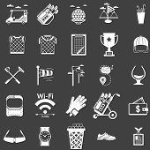 foto of foursome  - White silhouette icons vector set for golf on black background - JPG