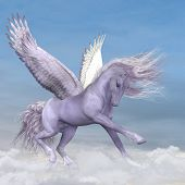 stock photo of pegasus  - Silver white Pegasus plays and frolics amoung fluffy cumulus clouds - JPG