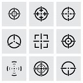 picture of crosshair  - Vector black crosshair icon set on grey background - JPG