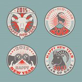 picture of goat horns  - Set of 2015 Chinese New Years symbol goat colored vector logos design - JPG