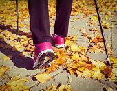 foto of pole  - Vintage retro effect filtered hipster style image of nordic walking - JPG
