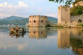 pic of octagon  - Golubac Fortress octagonal tower on the bank Danube River - JPG
