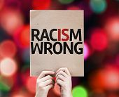 foto of nypd  - Racism Wrong card with colorful background with defocused lights - JPG