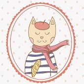 foto of french beret  - French parisian cat hand drawn vector illustration polka dot backdrop - JPG