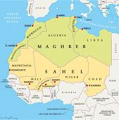 image of algiers  - Maghreb and Sahel Political Map with capitals and national borders - JPG