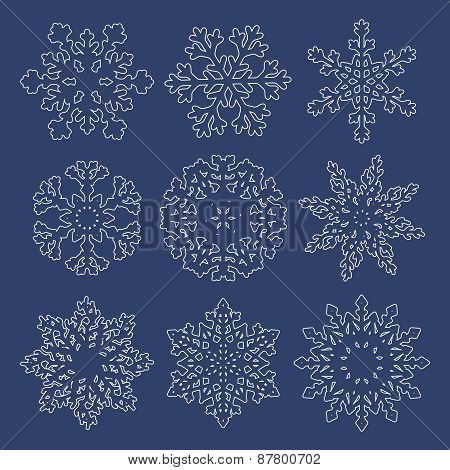 Set of  white contour snowflakes
